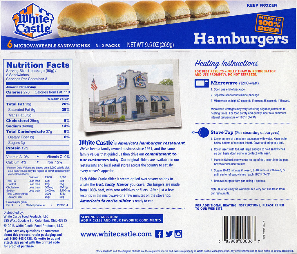 White Castle Hamburger Sliders package back