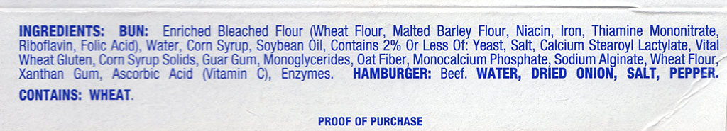White Castle Hamburger Sliders package ingredients