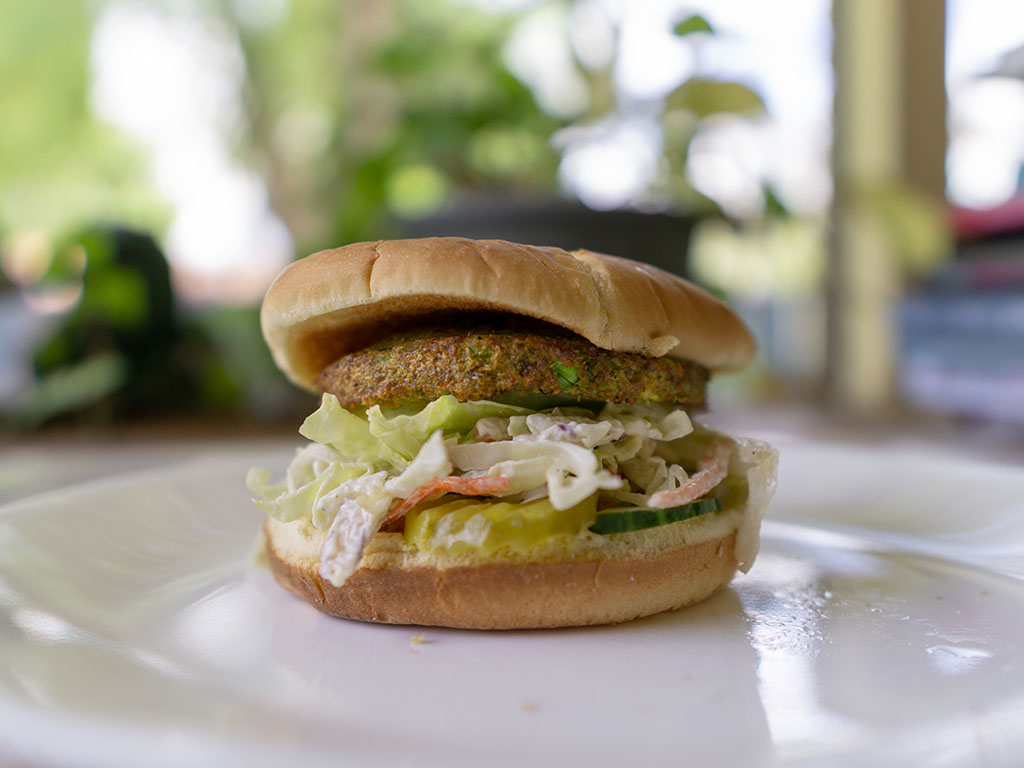 dr Praeger's California Veggie Burger with slaw and veggies