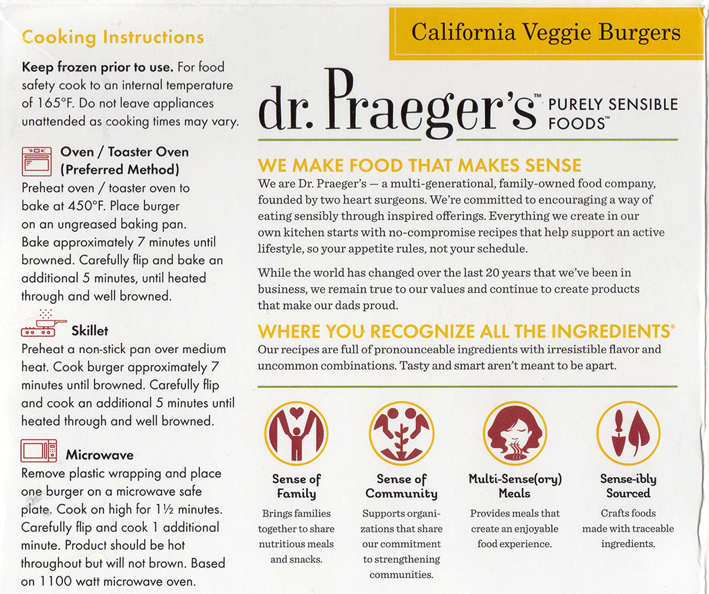 dr Praeger's California Veggie Burgers package back