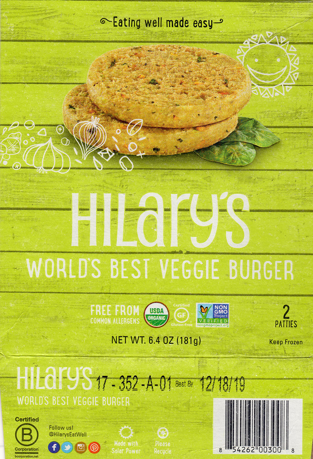 Hillary's Worlds Best Veggie Burger package front