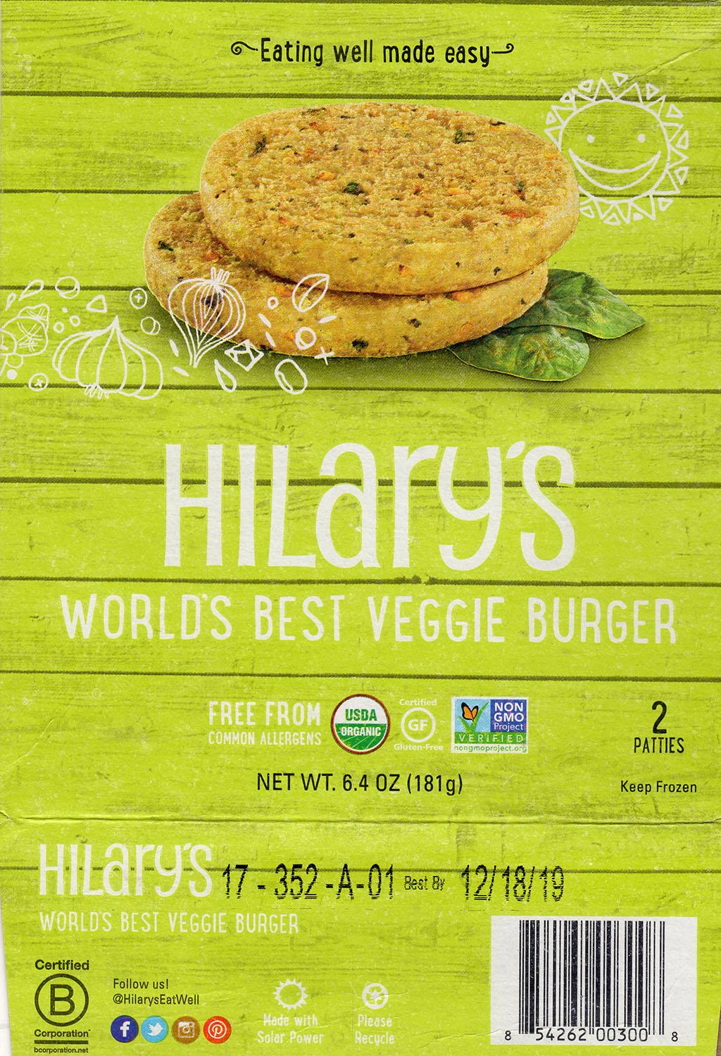Hillary's Worlds Best Veggie Burger package front