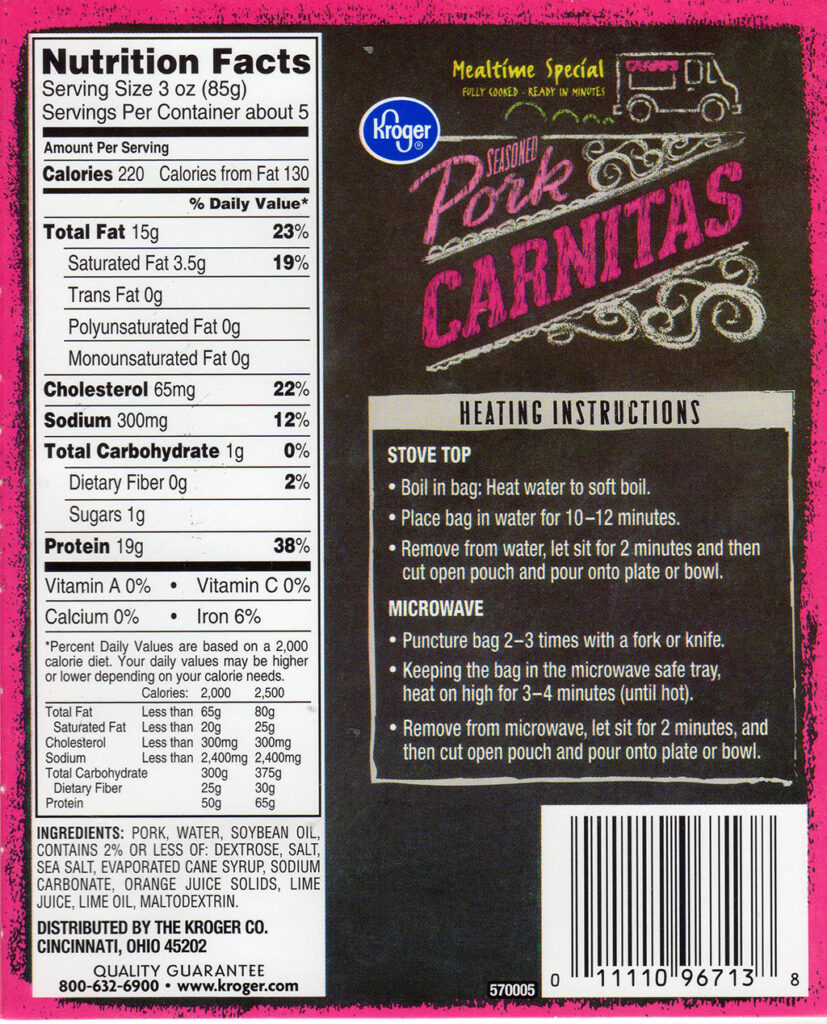 Kroger Pork Carnitas package back