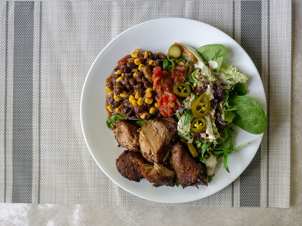 Kroger Pork Carnitas with beans and salad top down