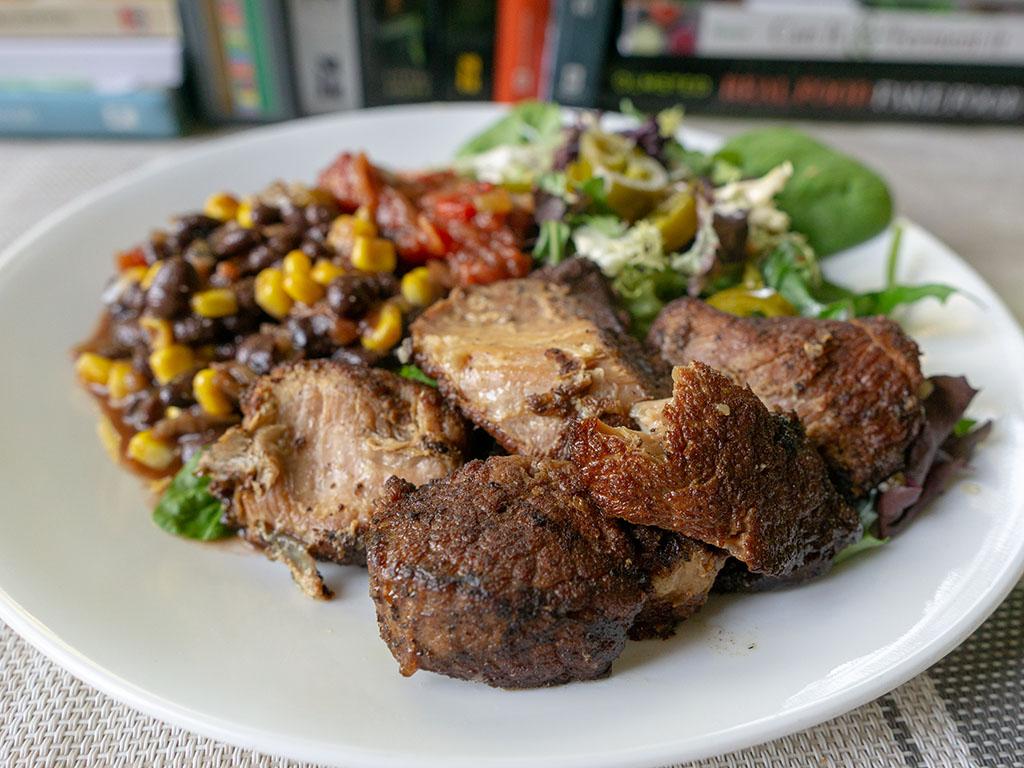 Kroger Pork Carnitas with beans and salad