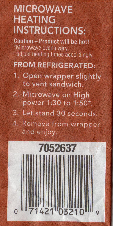 Pierre Hearty Rib Sandwich heating instructions
