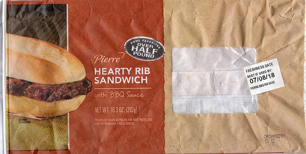 Pierre Hearty Rib Sandwich package front
