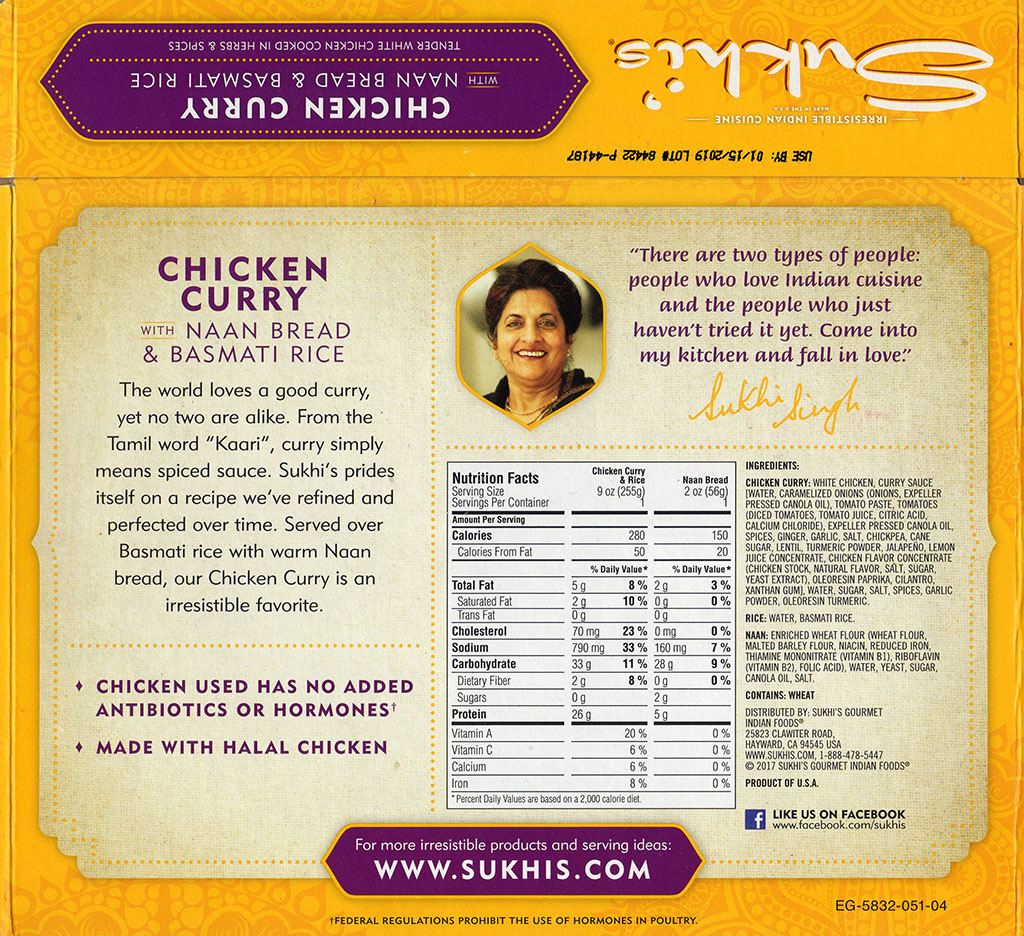 Sukhi's Chicken Curry package back