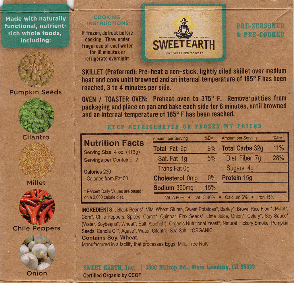 Sweet Earth Sante Fe Veggie Burger package back