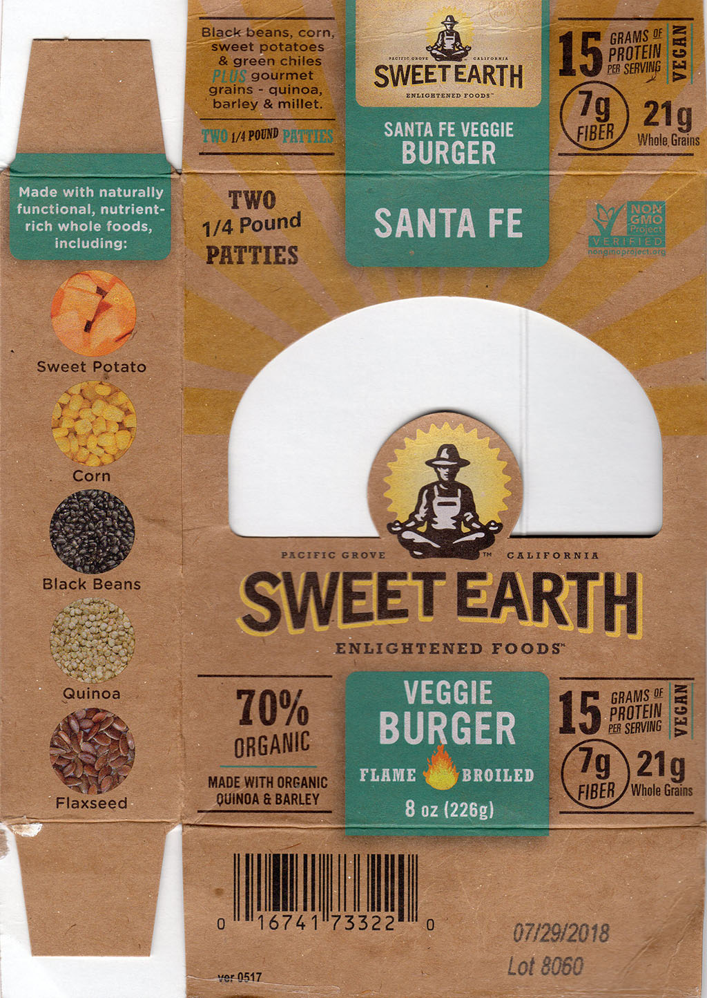 Sweet Earth Sante Fe Veggie Burger package front