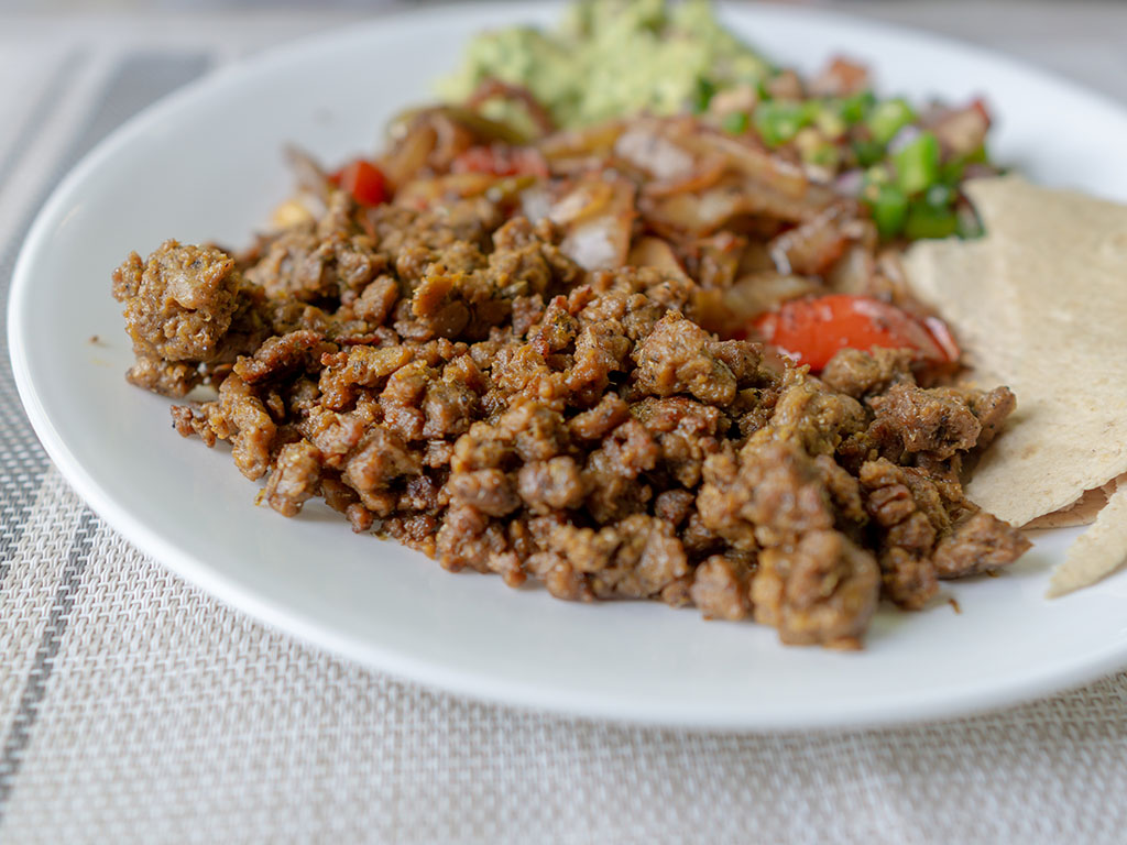 Upton's Naturals Chorizo Seitan close up cooked