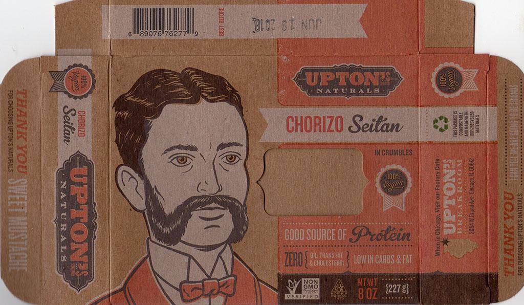 Upton's Naturals Chorizo Seitan package front