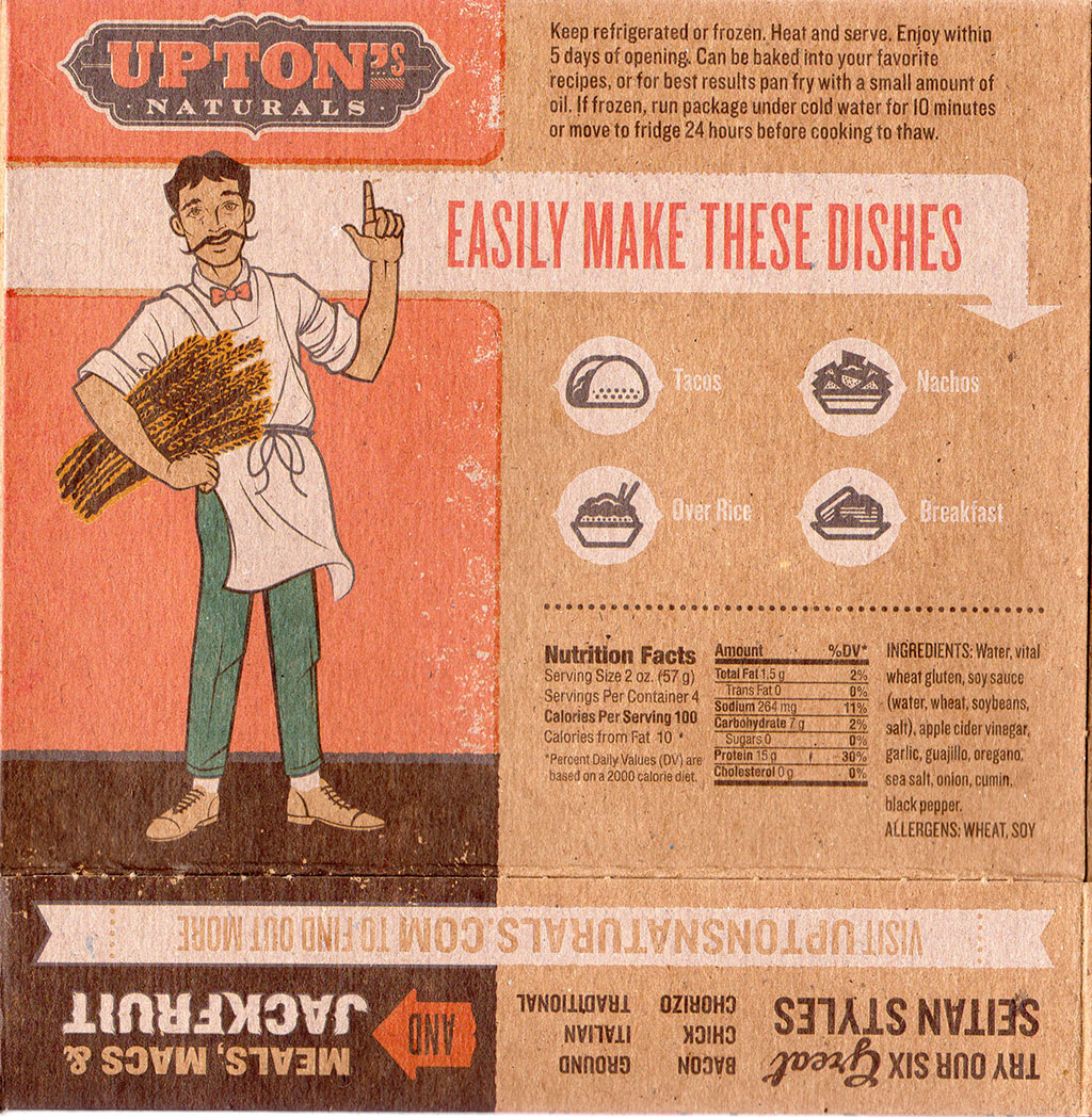 Upton's Naturals Chorizo Seitan package rear