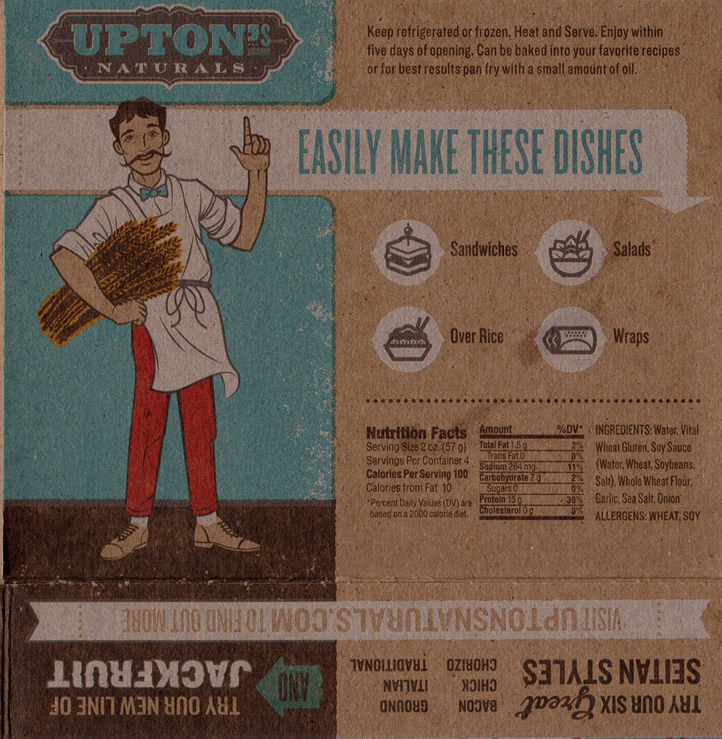 Upton's Naturals Traditional Seitan package back