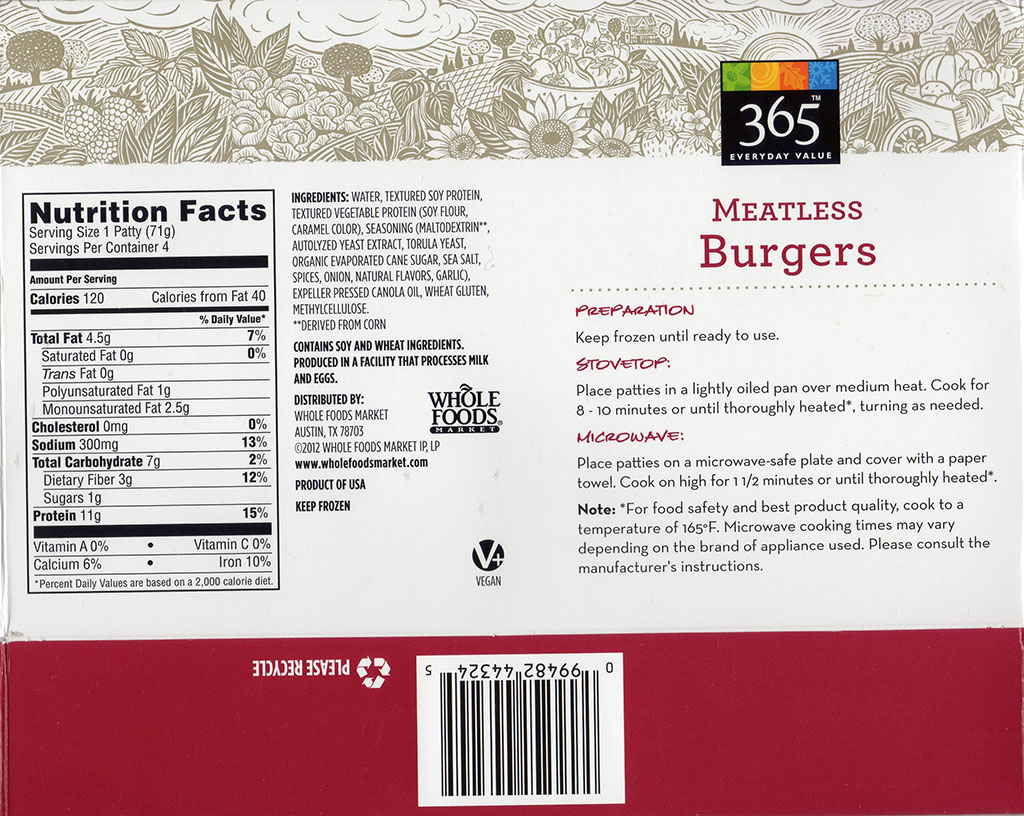365 Meatless Burgers package back