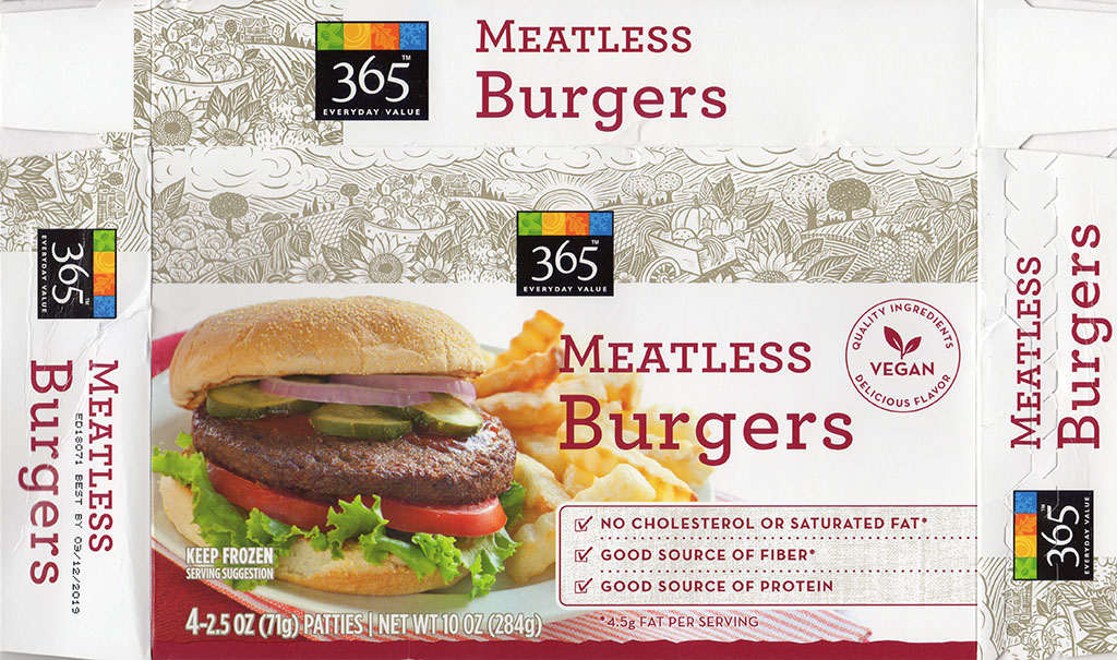365 Meatless Burgers package front