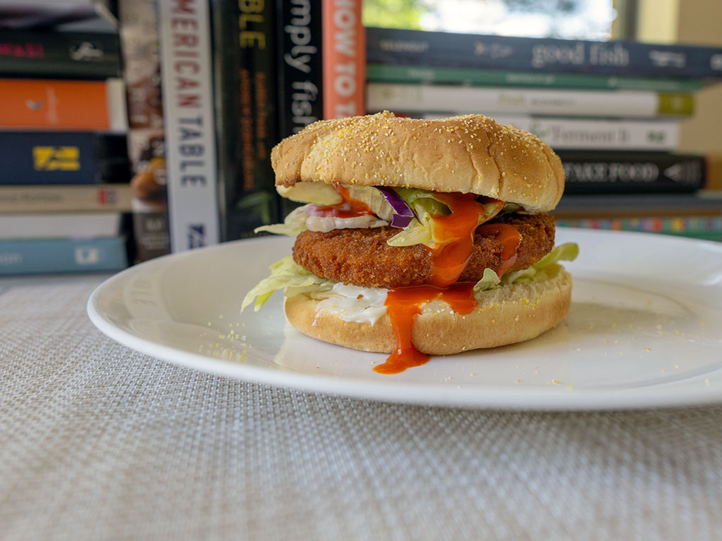 Basic buffalo wing sauce burger with buffalo chik patties