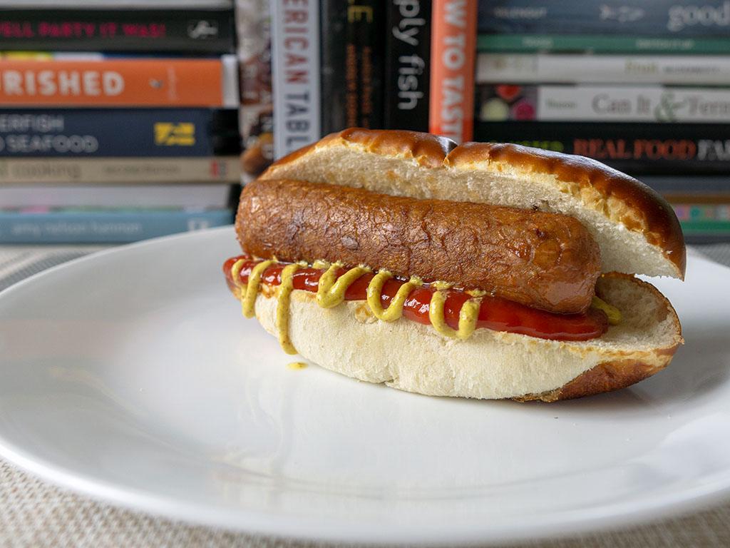 Beyond Meat The Beyond Sausage Original on a pretzel bun