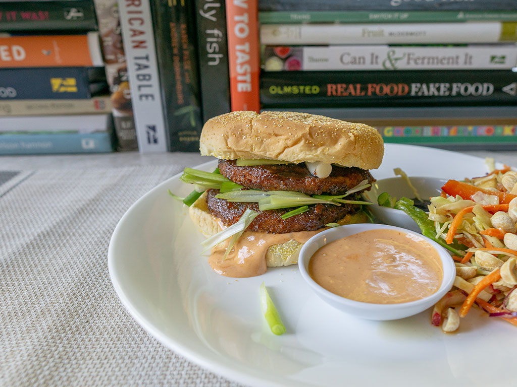 Hoisin burger with MorningStar Farms Buffalo burger