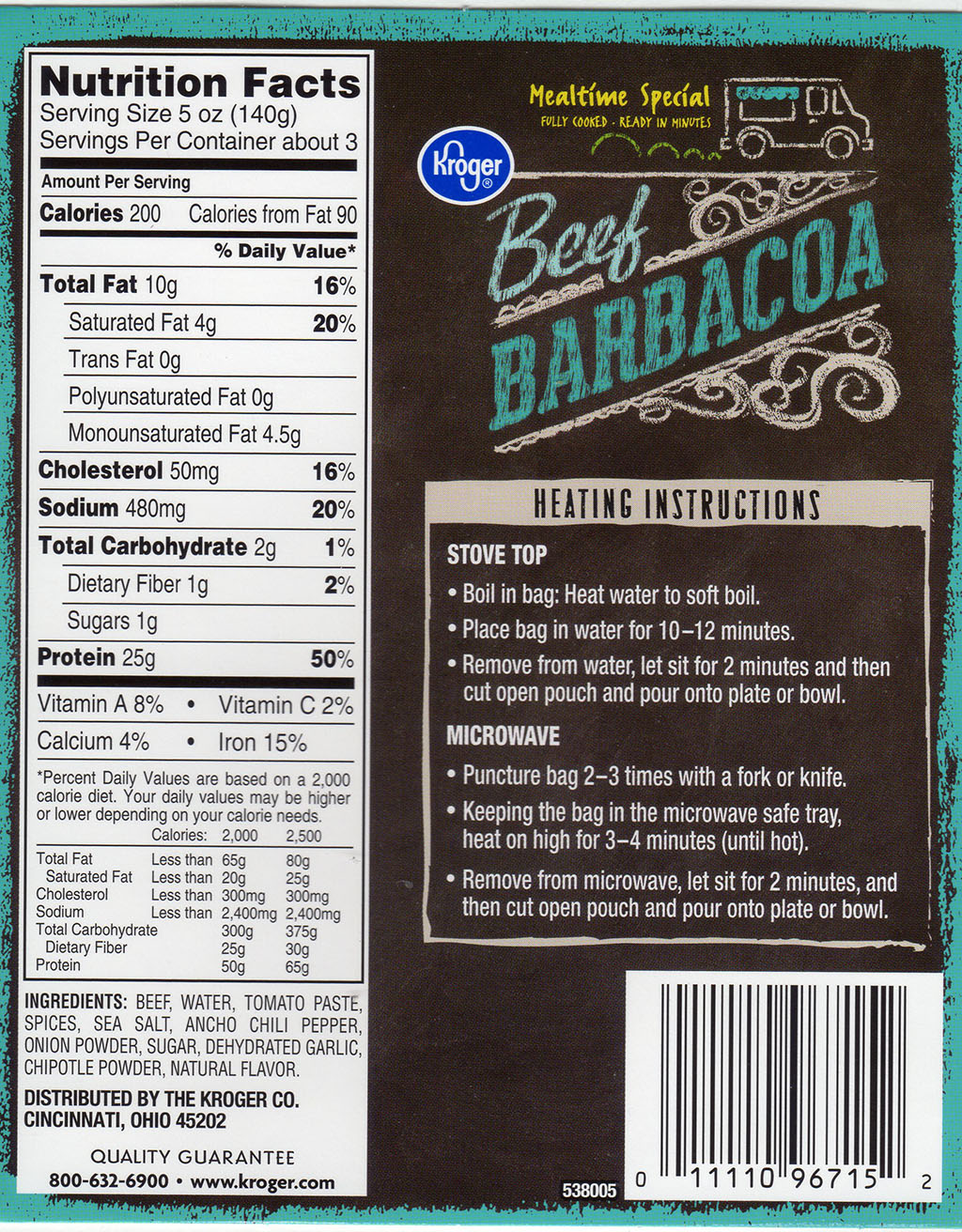 Kroger Beef Barbacoa package rear
