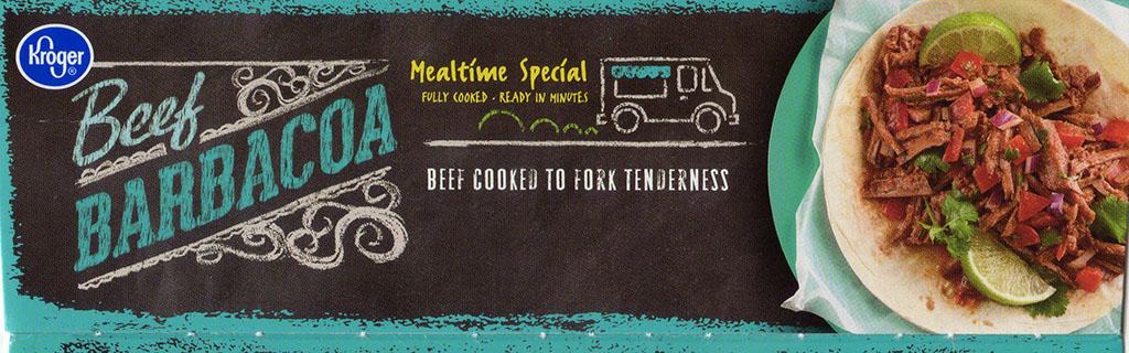 Kroger Beef Barbacoa package side