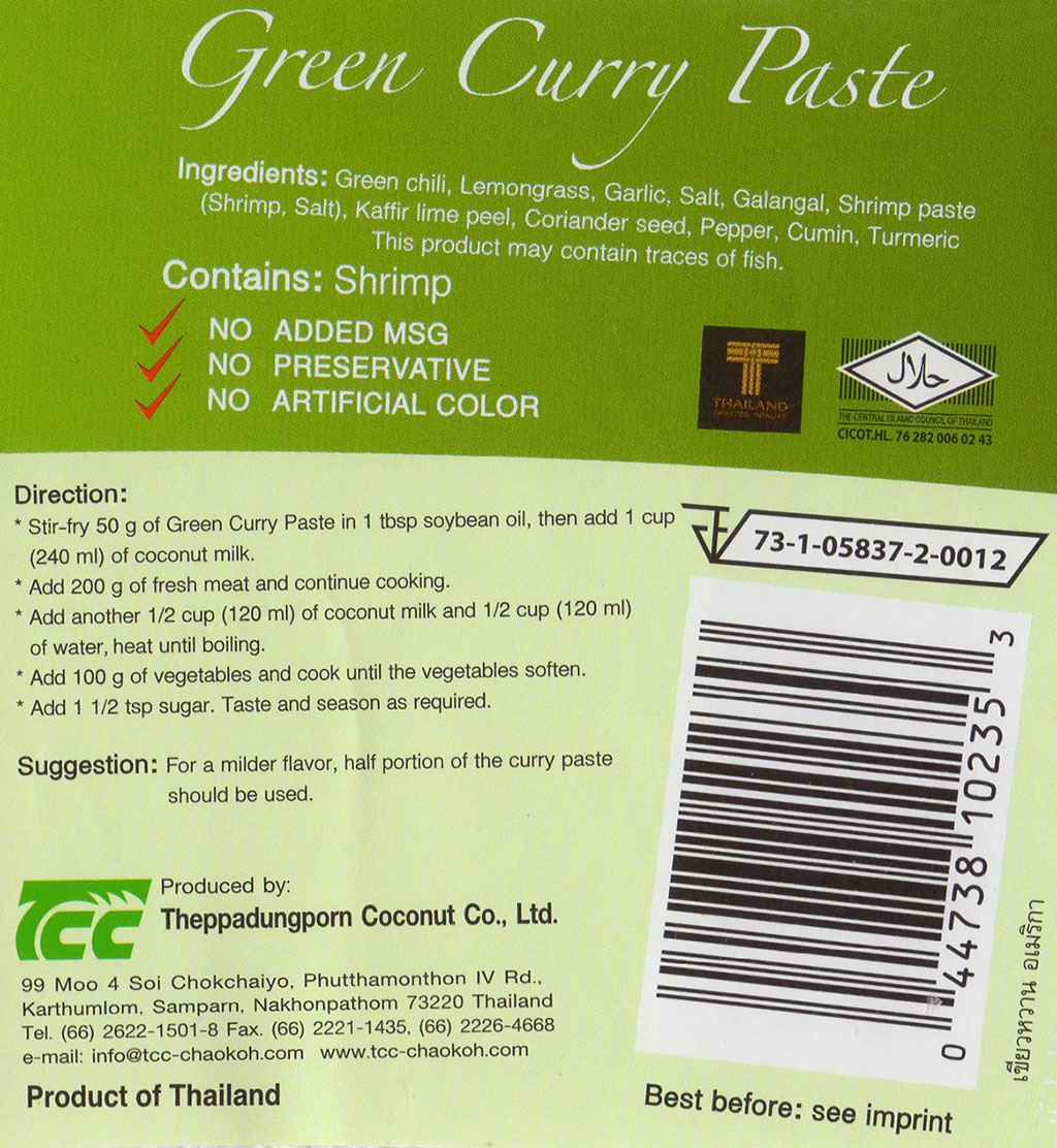 Mae Ploy Green Curry Paste package back