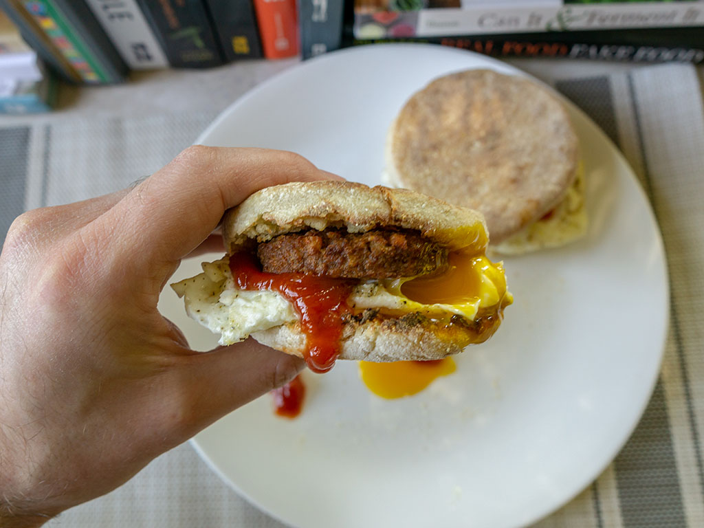 MorningStar Farms Original Sausage Patties on muffin with egg close up