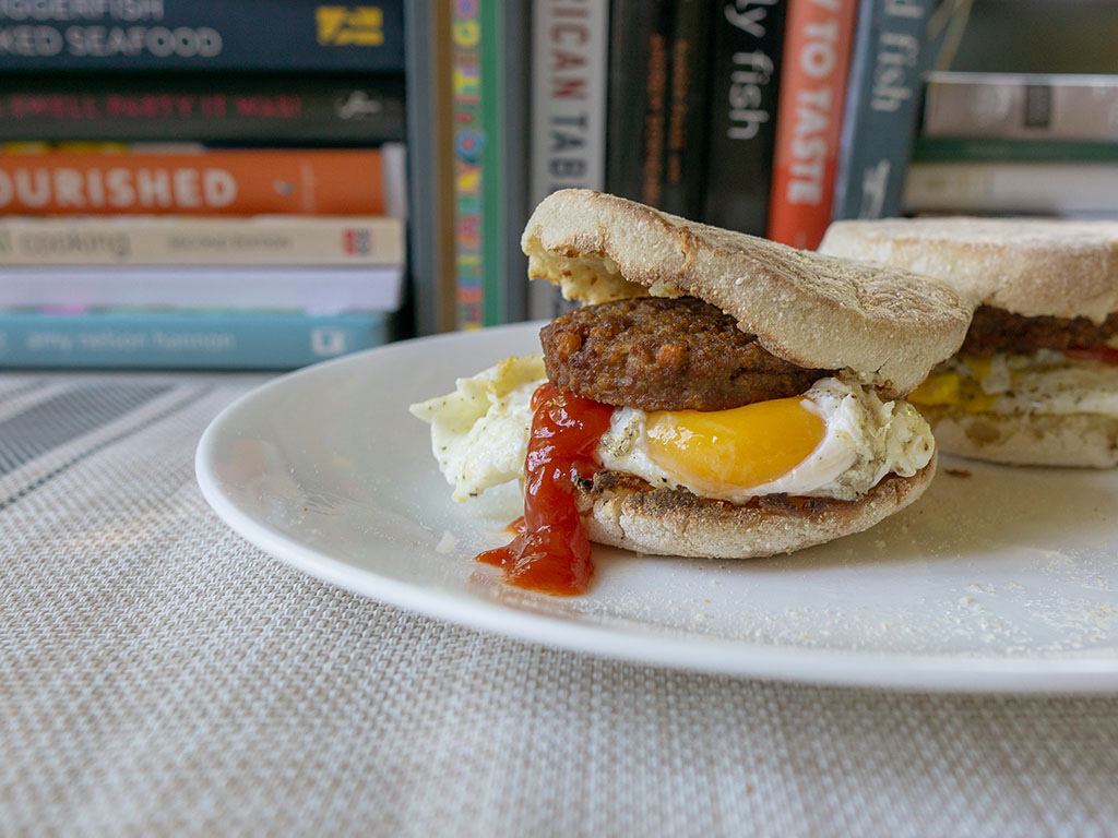 MorningStar Farms Original Sausage Patties on muffin with egg