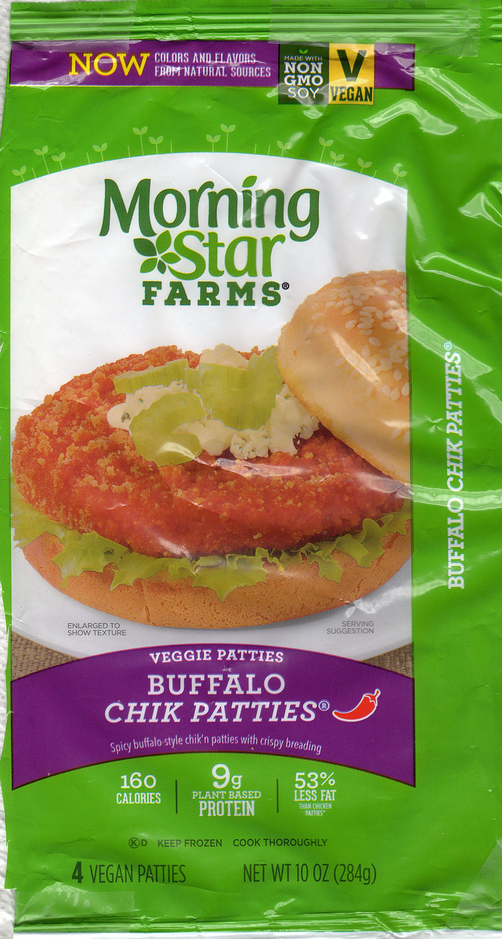 MorningStar Farms Buffalo Chik Patties 2019 package front vegan