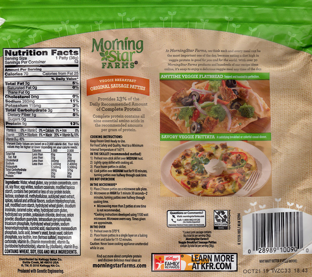 MorningStar Farms Original Sausage Patties package back