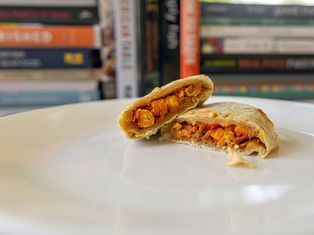 Sweet Earth Moroccan Empanada cooked cross section