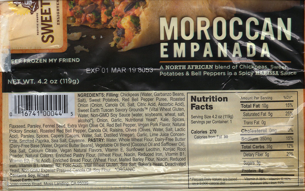 Sweet Earth Moroccan Empanada package back