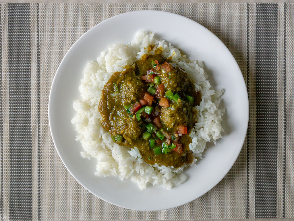 Vegan Chile Verde with Gardein Meatless Meatballs