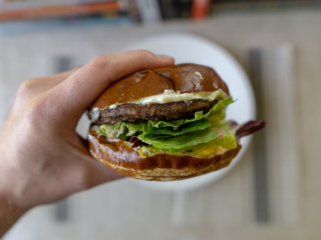 Gardein The Ultimate Beefless Burger - basic burger on pretzel bun