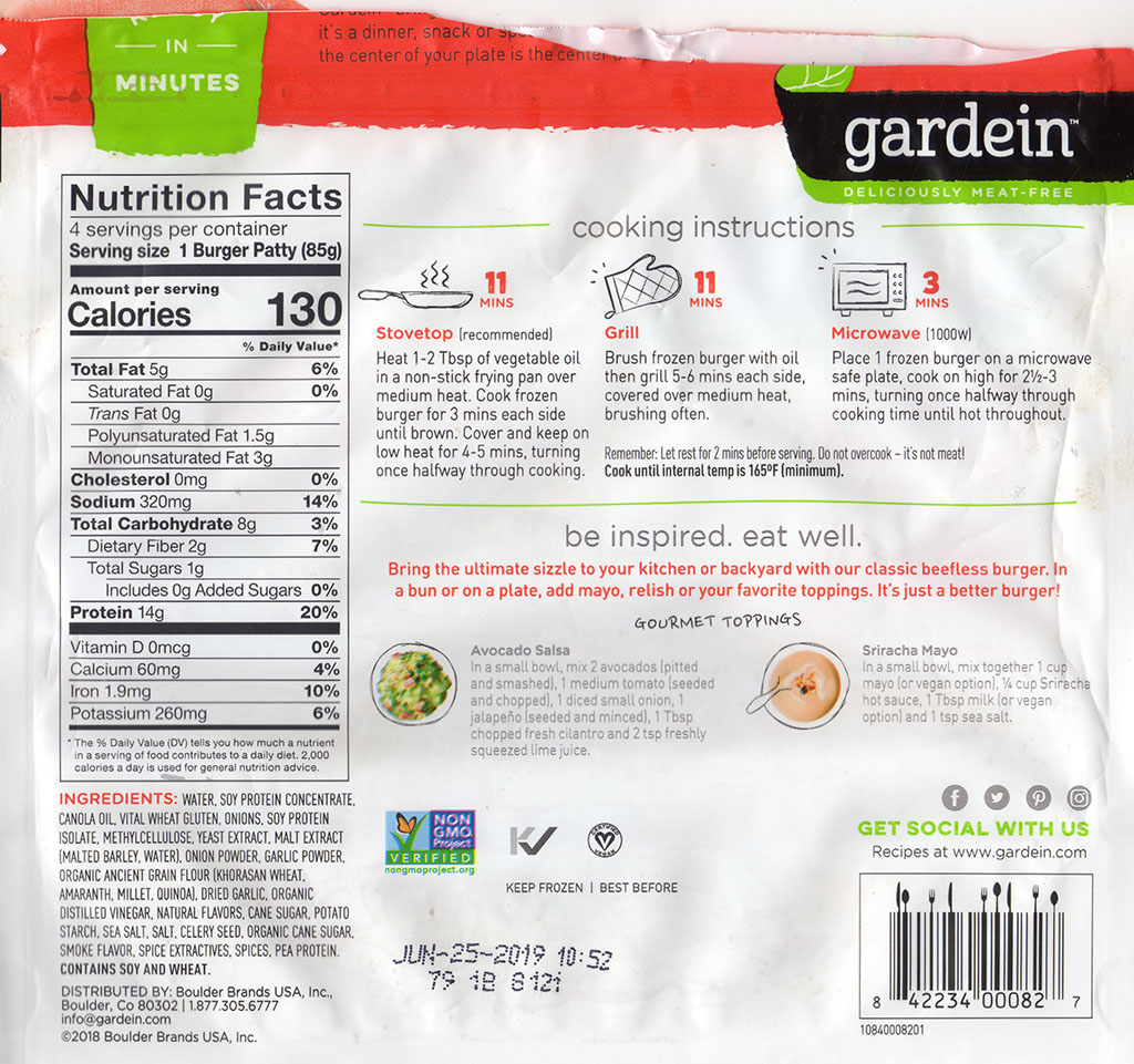 Gardein The Ultimate Beefless Burger package back