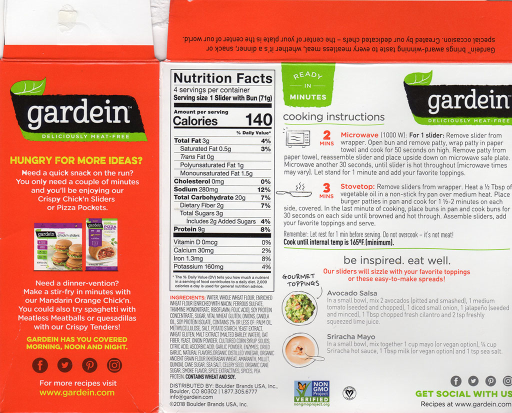 Gardein The Ultimate Beefless Sliders package back