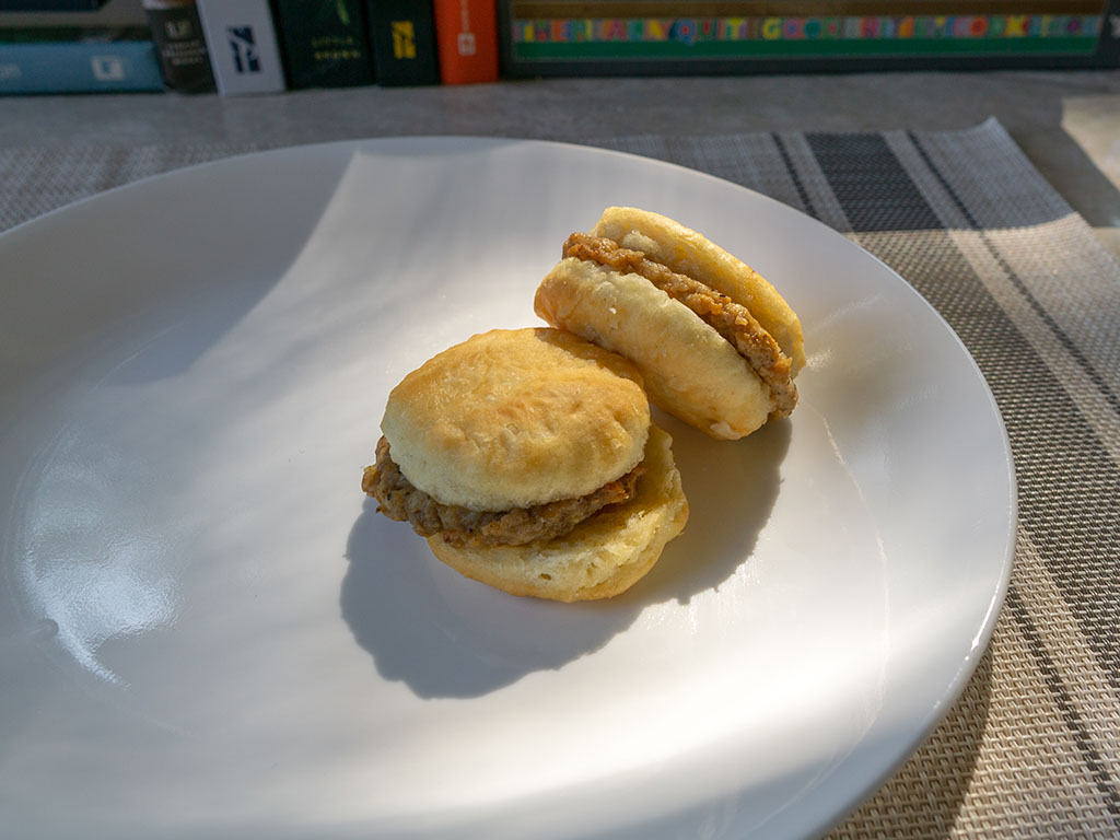 Odom's Tennessee Pride Sausage And Buttermilk Biscuits - cooked and plated
