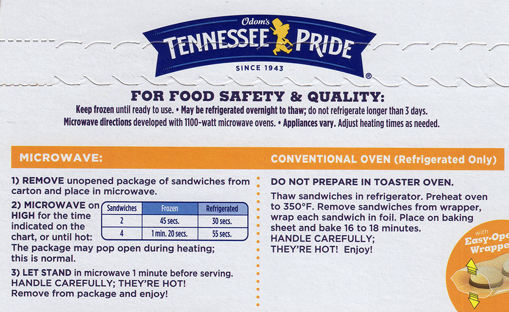 Odom's Tennessee Pride Sausage And Buttermilk Biscuits - cooking instructions