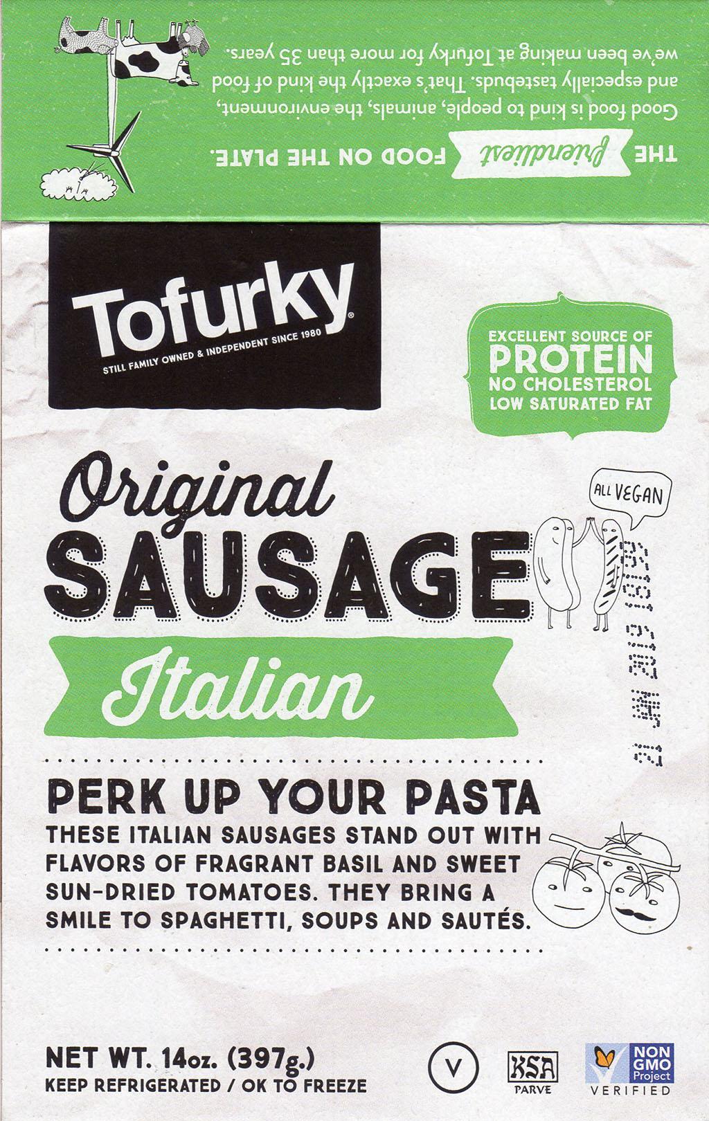 Tofurky Original Sausage Italian package front