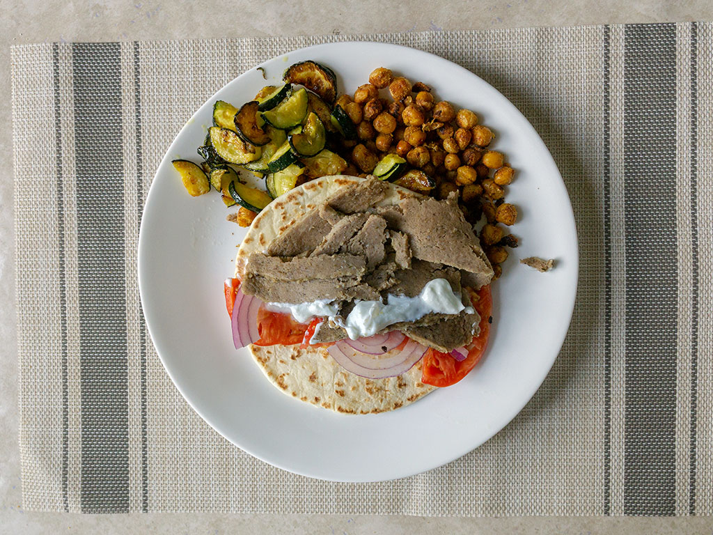 Trader Joe's - Gyro Slices gyro plate with spiced chickpeas and zucchini
