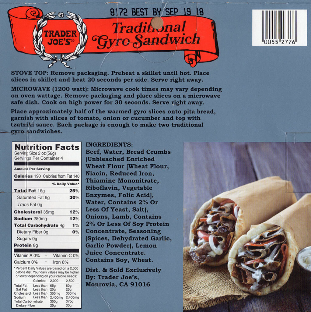 Trader Joe's Gyro Slices nutrition, cooking instructions and ingredients