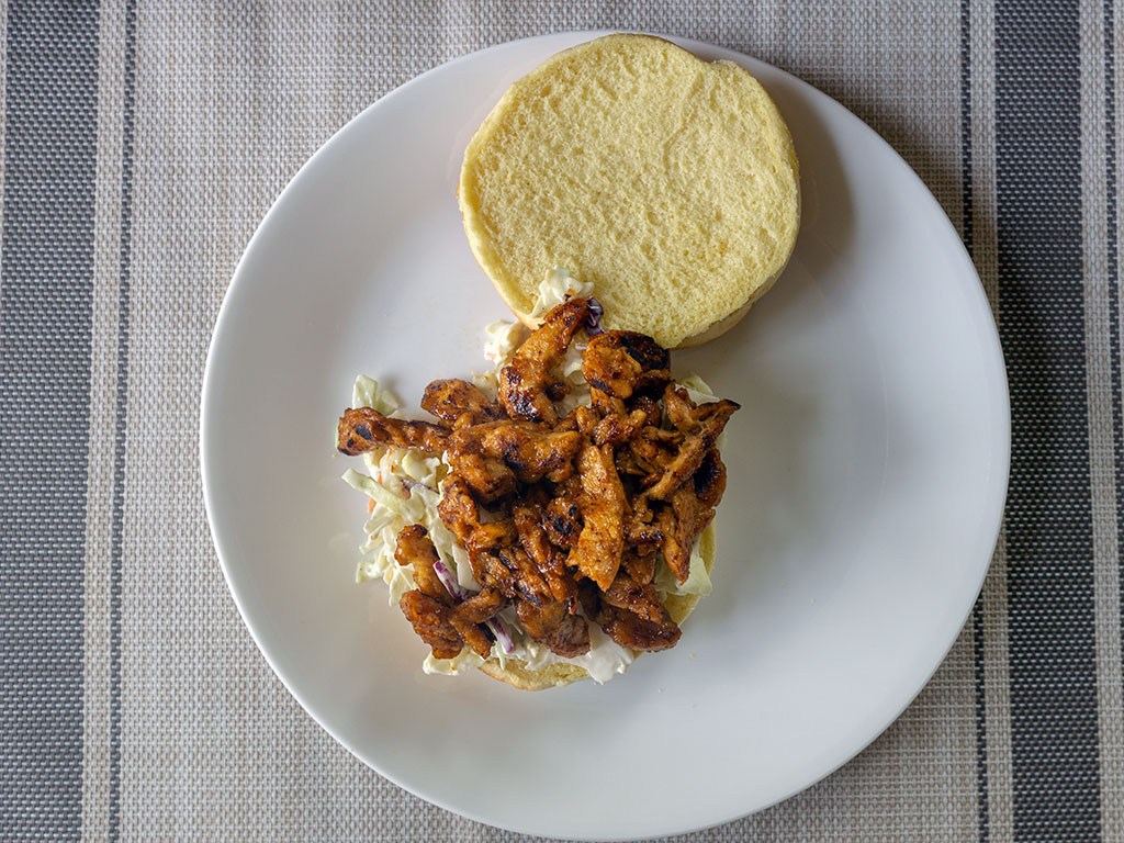 Vegan pulled pork sandwich with Butler Soy Curls top down
