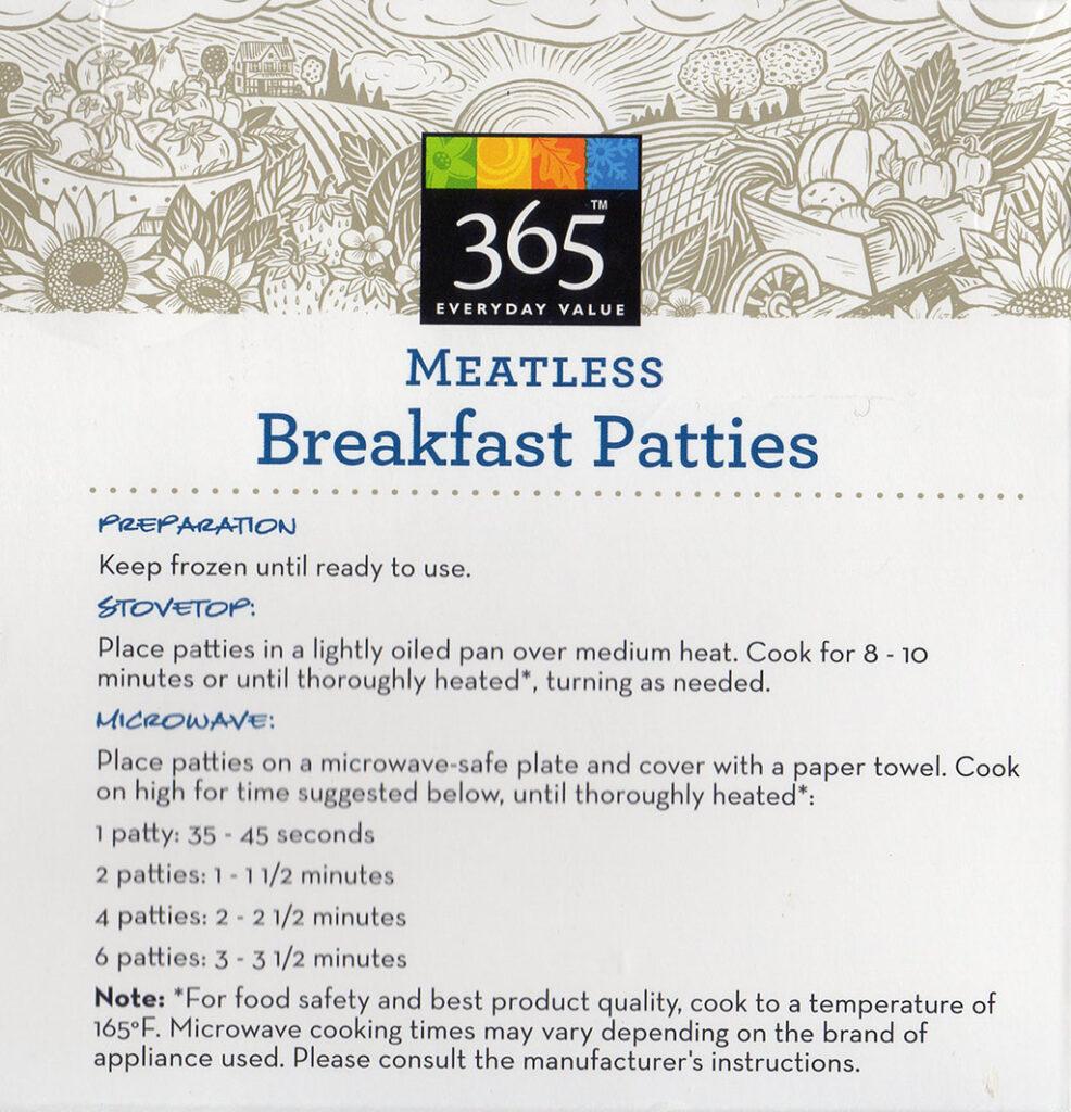 365 Meatless Breakfast Patties cooking instructions