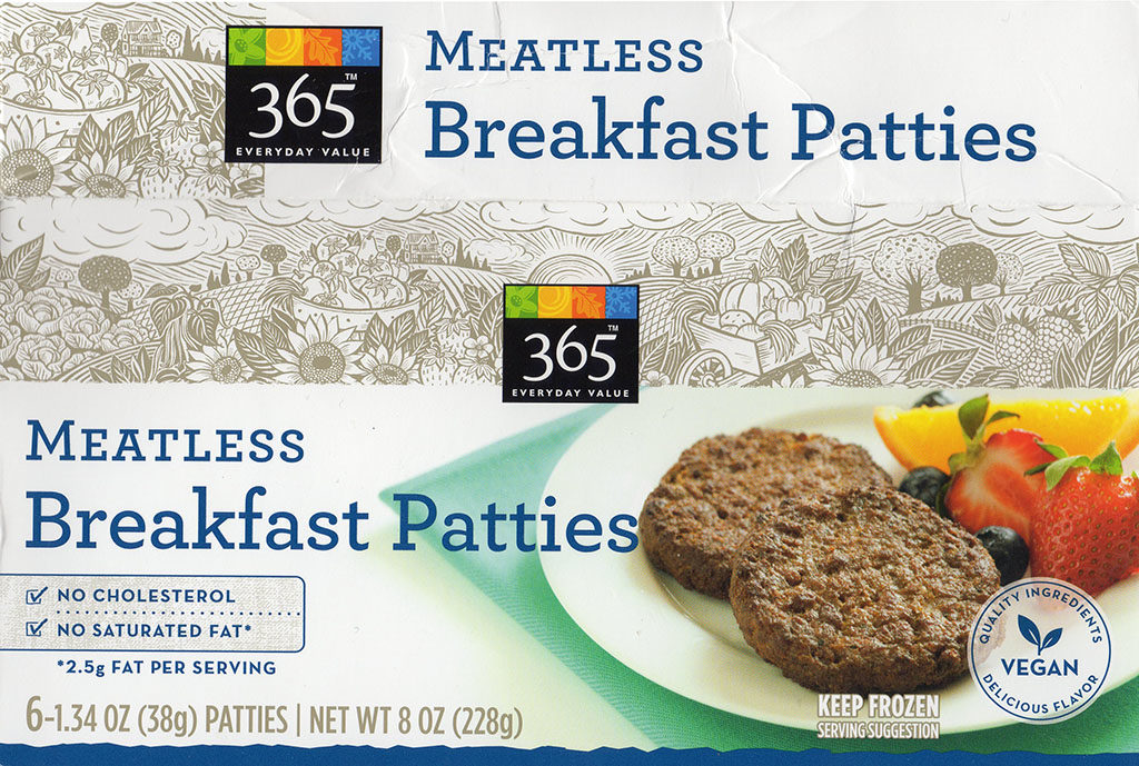 365 Meatless Breakfast Patties package front