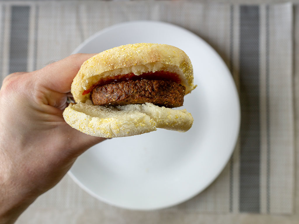 365 Meatless Breakfast Patties - patty on muffin with ketchup