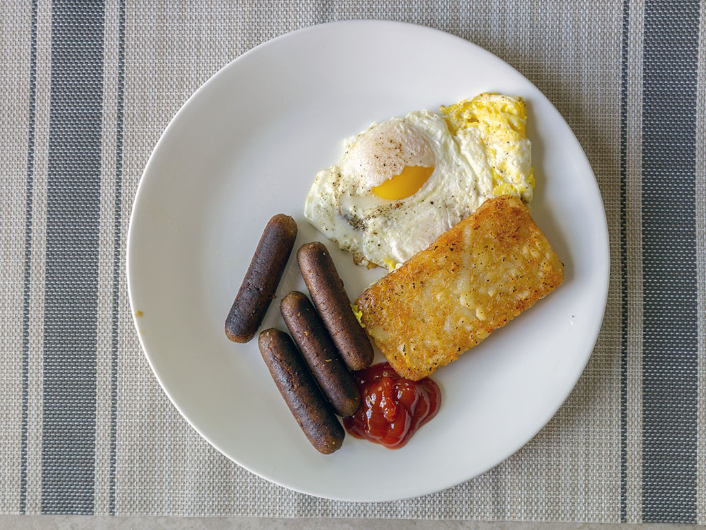 Breakfast plate with ield Roast Breakfast Sausage