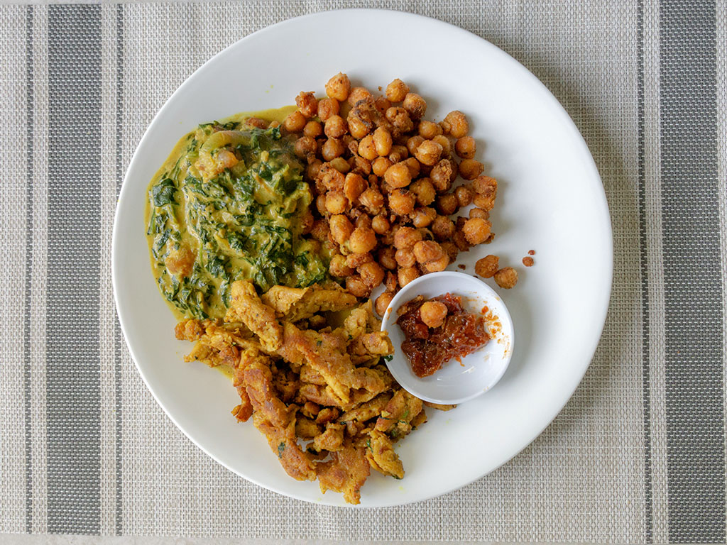 Curry Butler Soy Curls with saag curry and chickpeas