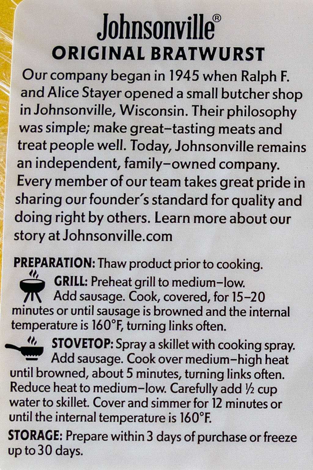 Johnsonville Brats Original - cooking instructions