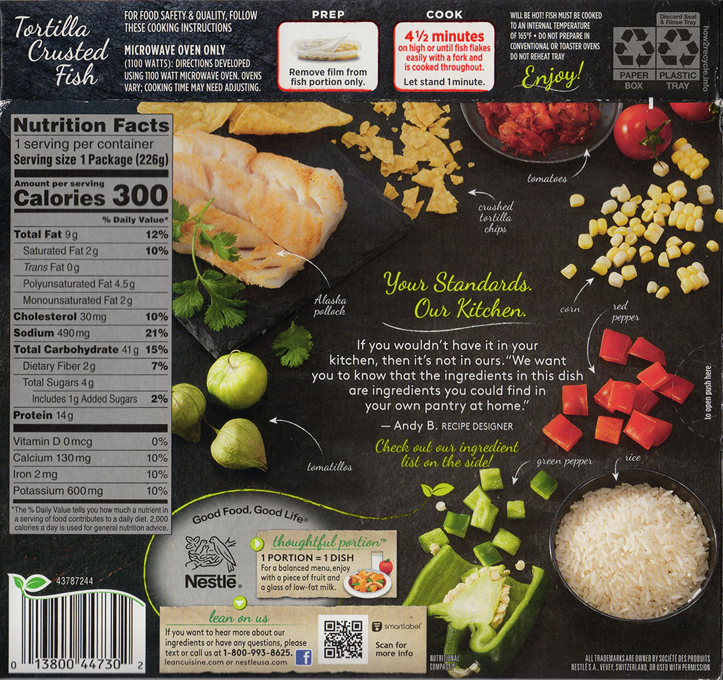 Lean Cuisine Tortilla Crusted Fish - cooking instructions, nutrition