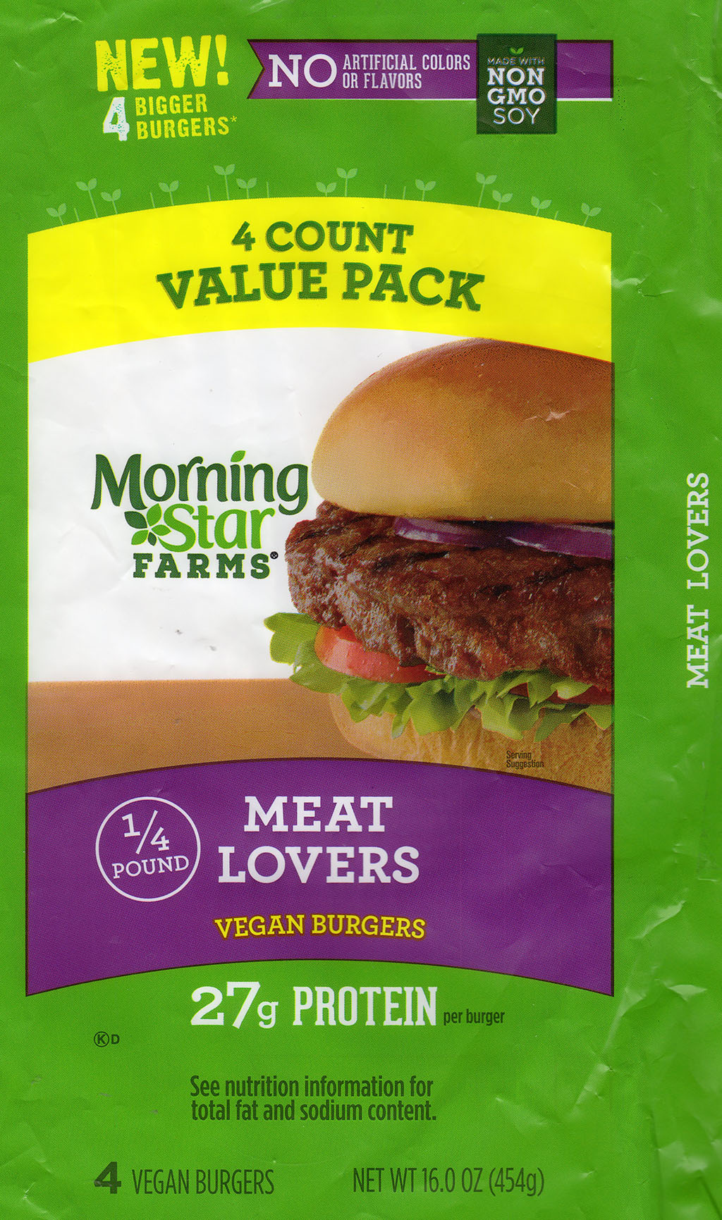 MorningStar Farms Meat Lovers Vegan Burgers package front